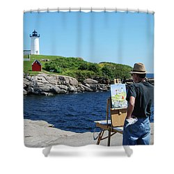 Painting Nubble Lighthouse Shower Curtain