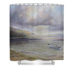 Shower Curtain featuring the painting Beach By Sruce Run Lake In New Jersey At Sunrise With A Boat by Katalin Luczay