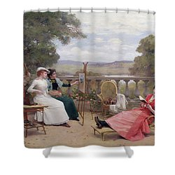 Painting On The Terrace Shower Curtain by Jules Frederic Ballavoine