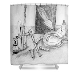 Painting Supplies Shower Curtain by Jamie Frier