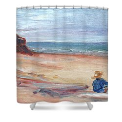 Painting The Coast - Scenic Landscape With Figure Shower Curtain by Quin Sweetman