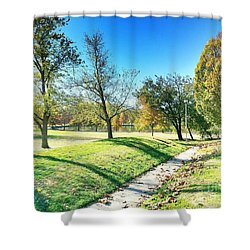 Painting With Shadows - Park Day Shower Curtain