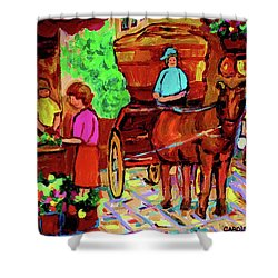 Paintings Of Montreal Streets Old Montreal With Flower Cart And Caleche By Artist Carole Spandau Shower Curtain by Carole Spandau