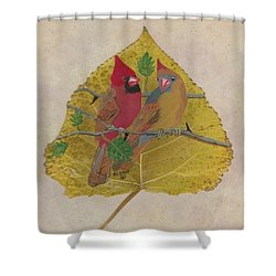Pair Of Cardinals Shower Curtain
