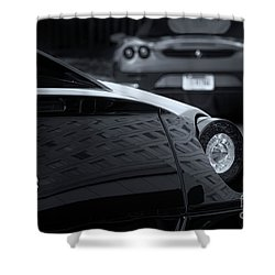 Shower Curtain featuring the photograph Pair Of Ferraris 2 by Dennis Hedberg