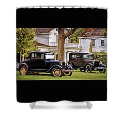 Shower Curtain featuring the photograph Pair Of Ford Model A  by Susan Rissi Tregoning
