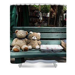 Teddy Bear Lovers On The Banch Shower Curtain by Yoel Koskas