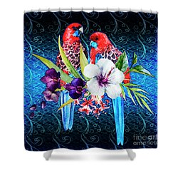 Paired Parrots Shower Curtain