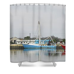 Shower Curtain featuring the photograph Palacios Harbor by Jimmie Bartlett