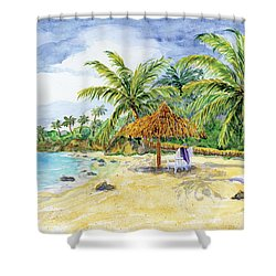 Palappa N Adirondack Chairs On A Caribbean Beach Shower Curtain