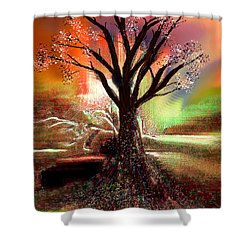 Shower Curtain featuring the digital art Pale Moonlight 2 by Yul Olaivar