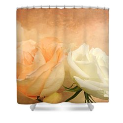 Pale Peach And White Roses Shower Curtain by Marsha Heiken