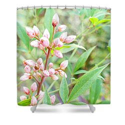 Pale Powder Pink Plant Shower Curtain