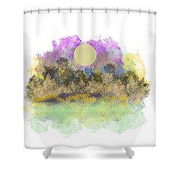 Pale Yellow Moon Shower Curtain by Jessica Wright