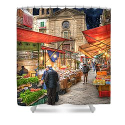 Palermo Market Place Shower Curtain by Juli Scalzi