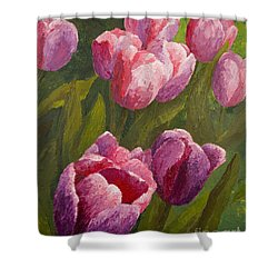 Shower Curtain featuring the painting Palette Tulips by Phyllis Howard
