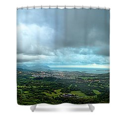 Shower Curtain featuring the photograph Pali Lookout Dawn by Dan McManus