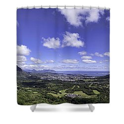 Pali Lookout Panorama Shower Curtain