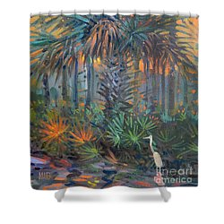 Palm And Egret Shower Curtain by Donald Maier