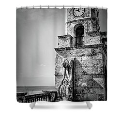 Palm Beach Clock Tower In Black And White Shower Curtain