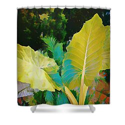 Shower Curtain featuring the painting Palm Branches by Mindy Newman