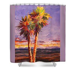 Palm Duo Shower Curtain by Anne Marie Brown