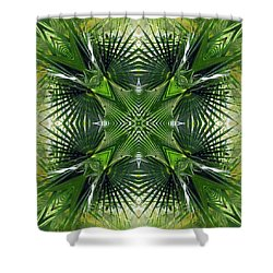 Shower Curtain featuring the photograph Palm Frond Kaleidoscope by Francesa Miller