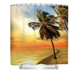 Palm Island Shower Curtain by Corey Ford