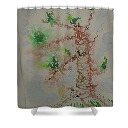Shower Curtain featuring the drawing Palm Tree by AJ Brown