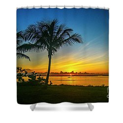 Palm Tree And Boat Sunrise Shower Curtain