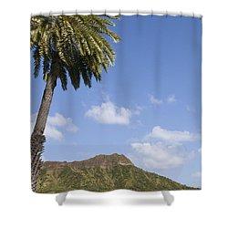 Palm Tree And Diamond Head Shower Curtain by Brandon Tabiolo