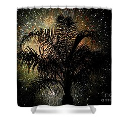 Palm Tree Fireworks Shower Curtain by David Lee Thompson