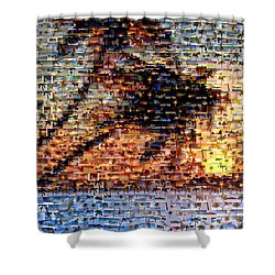 Shower Curtain featuring the mixed media Palm Tree Mosaic by Paul Van Scott