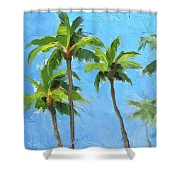Shower Curtain featuring the painting Palm Tree Plein Air Painting by Karen Whitworth
