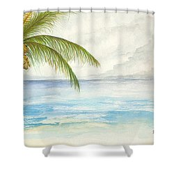 Shower Curtain featuring the digital art Palm Tree Study by Darren Cannell