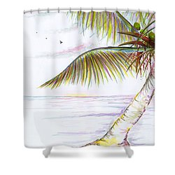 Shower Curtain featuring the digital art Palm Tree Study Three by Darren Cannell