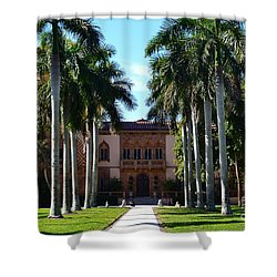 Palm Trees At Ca D' Zan  Shower Curtain by Karen Francis