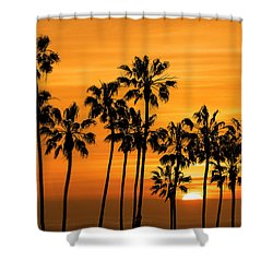 Shower Curtain featuring the photograph Palm Trees At Sunset By Cabrillo Beach by Randall Nyhof