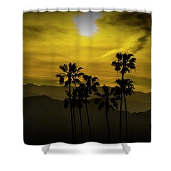 Shower Curtain featuring the photograph Palm Trees At Sunset With Mountains In California by Randall Nyhof
