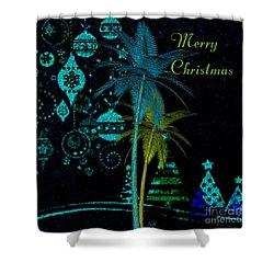 Shower Curtain featuring the digital art Palm Trees Merry Christmas by Megan Dirsa-DuBois