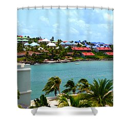 Palm Trees Of Oyster Bay Shower Curtain by Karen Francis
