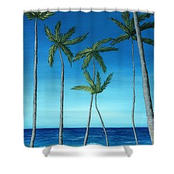 Shower Curtain featuring the painting Palm Trees On Blue by Anastasiya Malakhova