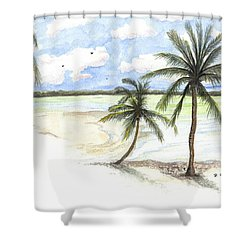 Shower Curtain featuring the painting Palm Trees On The Beach by Darren Cannell