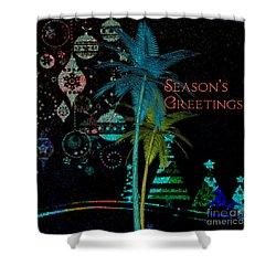 Shower Curtain featuring the digital art Palm Trees Season's Greetings by Megan Dirsa-DuBois