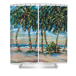 Palms Along The Shore Shower Curtain by Linda Olsen