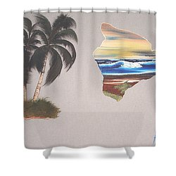 Shower Curtain featuring the painting Palms And Big Island by Karen Nicholson