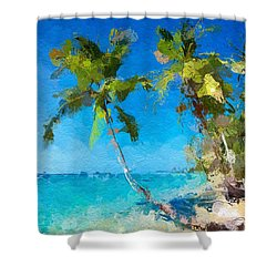 Palms Beach Abstract  Shower Curtain