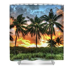 Palms On Fire Shower Curtain