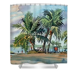 Palms On Sanibel Shower Curtain by Donald Maier