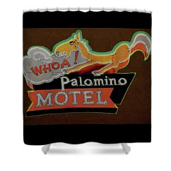 Shower Curtain featuring the photograph Palomino Motel by Jeff Burgess